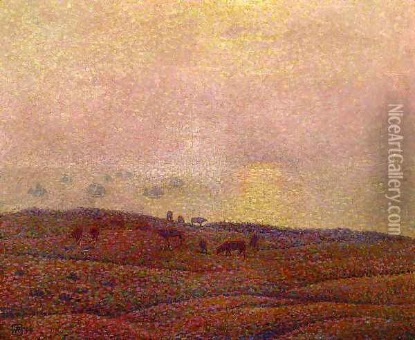 Cows in a Landscape Oil Painting - Theo van Rysselberghe