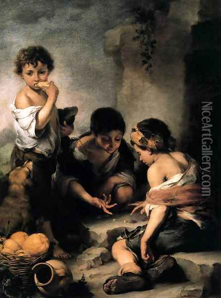 Young Boys Playing Dice c. 1675 Oil Painting - Bartolome Esteban Murillo
