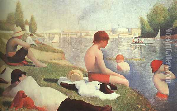 Bathing At Asnieres 1884 Oil Painting - Georges Seurat