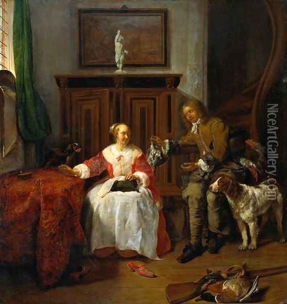The Hunter's Gift 1658-60 Oil Painting - Gabriel Metsu