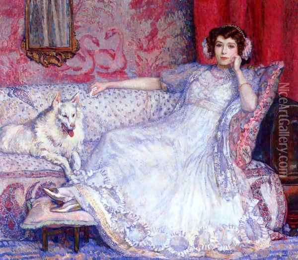 The Woman in White Oil Painting - Theo van Rysselberghe