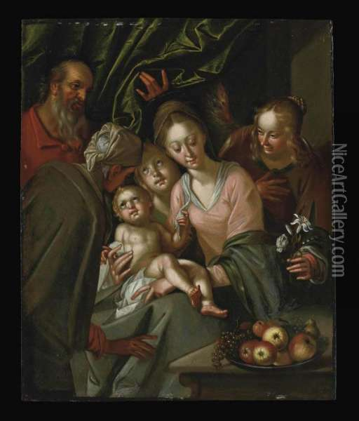 The Holy Family With Saint Anne And Female Attendants Oil Painting - Hans Von Aachen