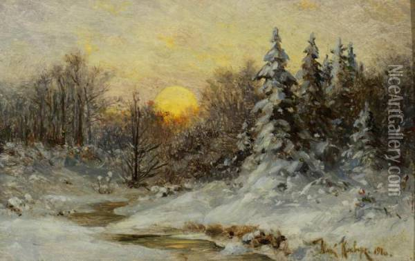 Wooded Winter Sunset Oil Painting - Iulii Iul'evich (Julius) Klever