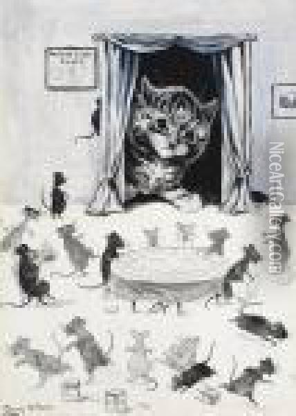 The Mouse Club Rules Oil Painting - Louis William Wain