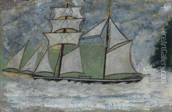 A Sailing Ship Oil Painting - Alfred Wallis