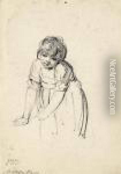 Study Of Matilda Ward As A Young Child Oil Painting - James Ward