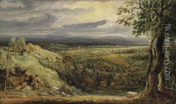 A View In Somersetshire From Fitzhead Oil Painting - James Ward