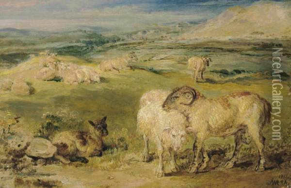 Sheep In A Pastoral Landscape Oil Painting - James Ward