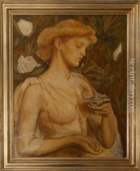 Portrait Of A Lady Holding A Lamp Oil Painting - John William Waterhouse