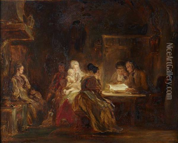 The Cotter's Saturday Night Oil Painting - Sir David Wilkie