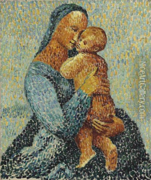 Mother And Child Oil Painting - Christopher Wood