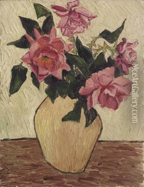 Roses In A Jar Oil Painting - Christopher Wood