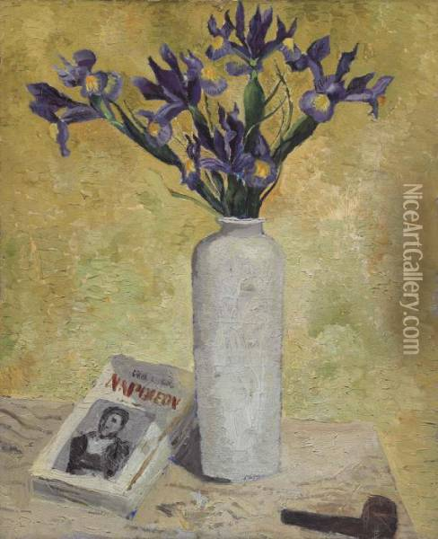Iris In A Tall Vase Oil Painting - Christopher Wood