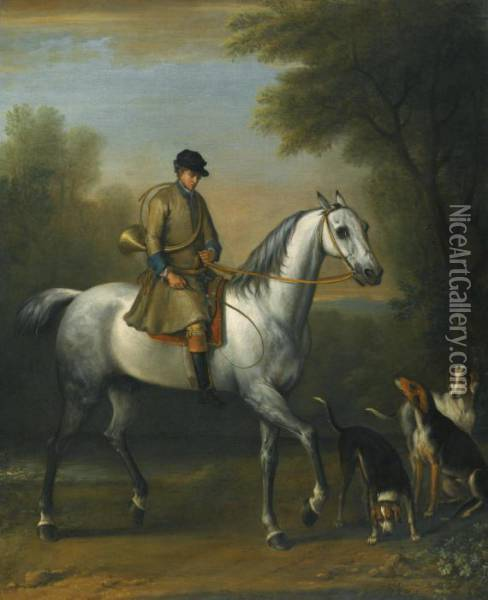 A Huntsman On A Grey Hunter With Hounds In A Landscape Oil Painting - John Wootton
