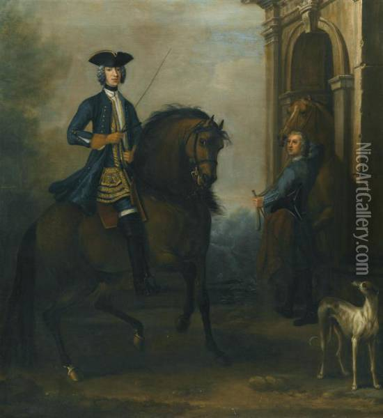 Portrait Of A Gentleman On  Horseback, Probably James Douglas-hamilton, 5th Duke Of Hamilton And 2nd  Duke Of Brandon (1703-1743), Mounted On A Bay Hunter, With His Groom  Holding Another Horse By A Classical Arch, And A Greyhound Oil Painting - John Wootton