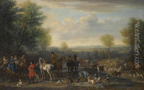 A Hunting Party Oil Painting - John Wootton