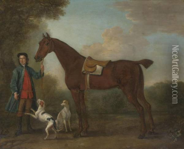 A Groom And Horse In A Landscape With Two Hounds Oil Painting - John Wootton