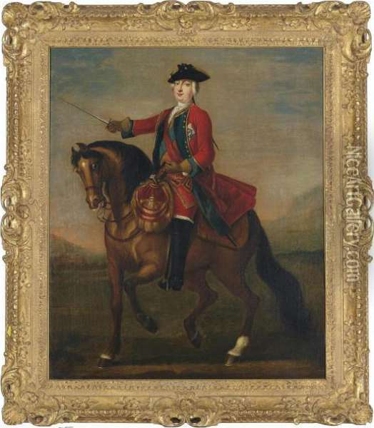 An Equestrian Portrait Of Prince  William Augustus, Duke Of Cumberland Wearing The Uniform Of The Red  Guards And The Ribbon And Star Of The Garter Oil Painting - John Wootton