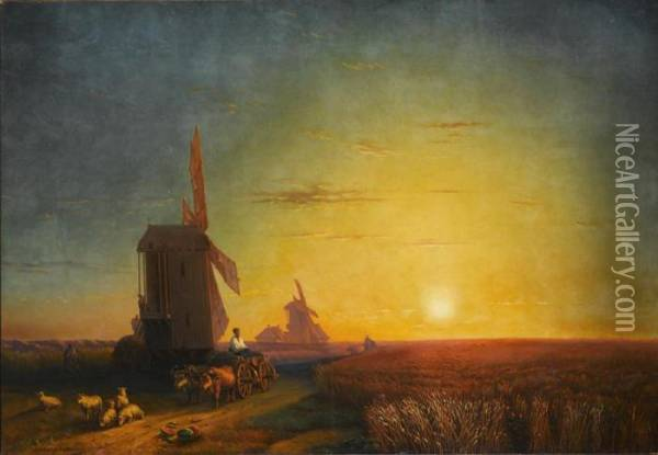 In The Fields Oil Painting - Ivan Konstantinovich Aivazovsky