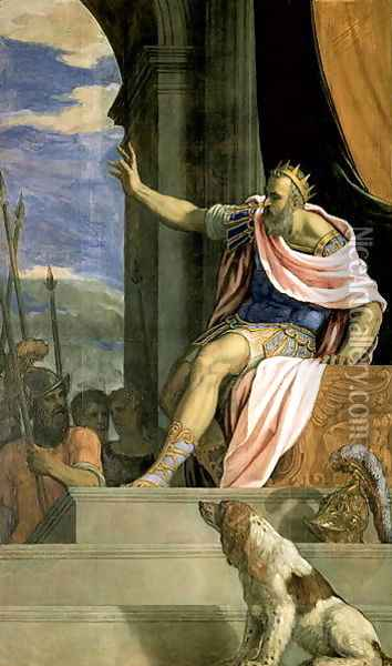 Saul throwing the lance at the head of David Oil Painting - Francesco de' Rossi