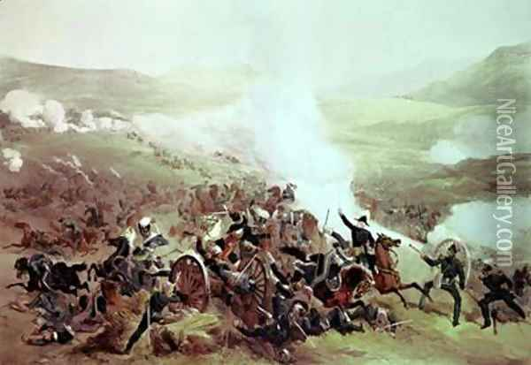 The Cavalry Charge at Balaclava 25th October 1854 Oil Painting - Etienne Carjat