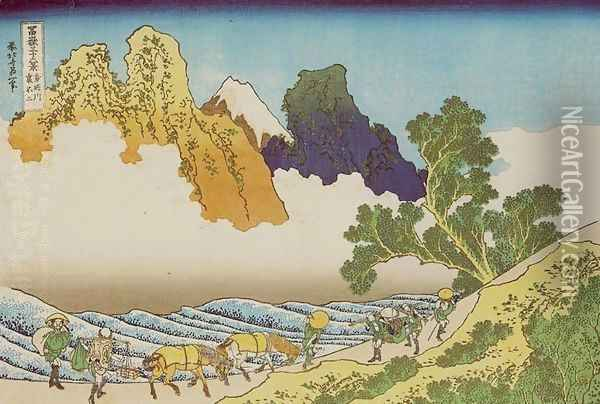 Back of Mount Fuji from Minobu River (Minobugawa ura Fuji) Oil Painting - Katsushika Hokusai
