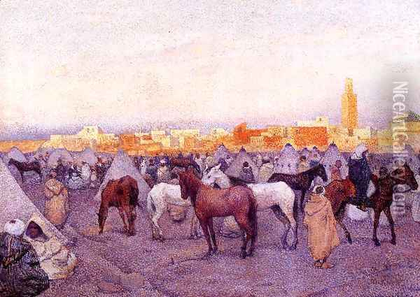 Encampment near a Moroccan Village I Oil Painting - Theo van Rysselberghe