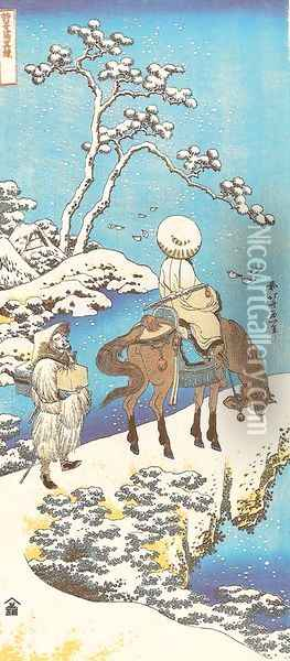 Rider in the Snow Oil Painting - Katsushika Hokusai