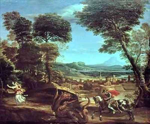 Landscape with St George and the Dragon Oil Painting - Domenico Zampieri (Domenichino)