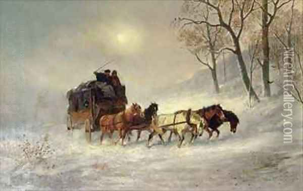 Snowstorms in the Sierras Oil Painting - William Hahn