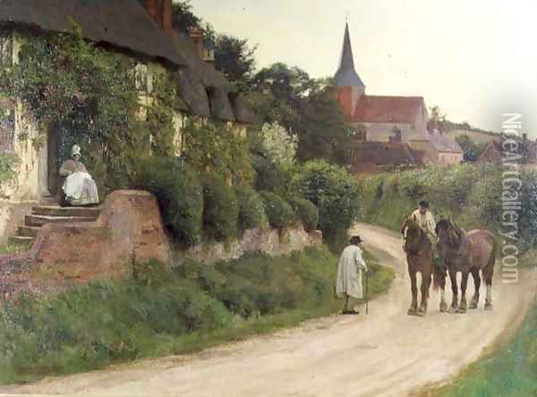 Evening in the Village Oil Painting - Henry John Yeend King