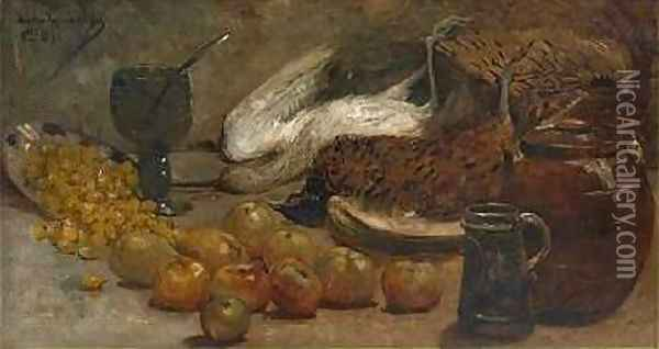 Still life with Pheasants Oil Painting - Theo van Rysselberghe