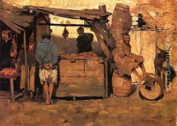 Moroccan Butcher Shop Oil Painting - Theo van Rysselberghe