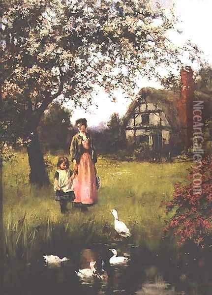 Mother and Child Watching the Ducks Oil Painting - Henry John Yeend King