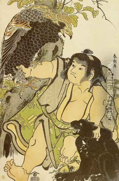 Kintaro and the Wild Animals Oil Painting - Katsushika Hokusai