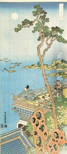 Abe No Nakamaro Gazing at the Moon from a Terrace Oil Painting - Katsushika Hokusai