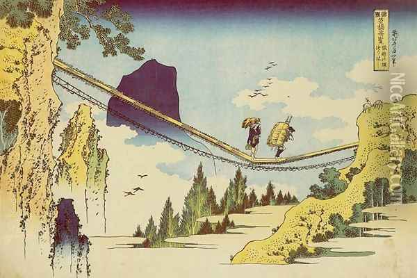 Suspension Bridge on the Border of Hida and Etchu Provinces (Hietsu no sakai tsuribashi) Oil Painting - Katsushika Hokusai