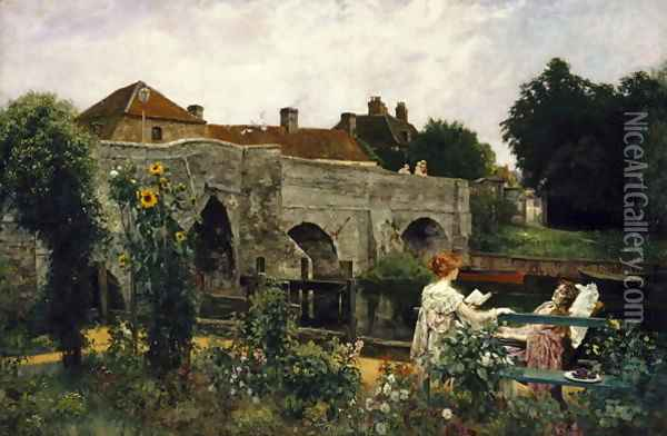 The Garden by the River Oil Painting - Henry John Yeend King