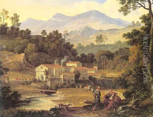 The Monastery of St. Francis in Sabine Hills, Rome Oil Painting - Joseph Anton Koch