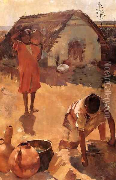 Figures near a Well in Morocco Oil Painting - Theo van Rysselberghe