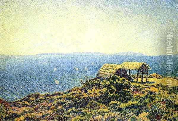Ile du Levant, View from Cape Benat, Brittany Oil Painting - Theo van Rysselberghe