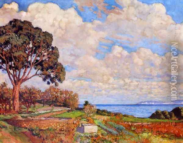 Large Tree near the Sea Oil Painting - Theo van Rysselberghe