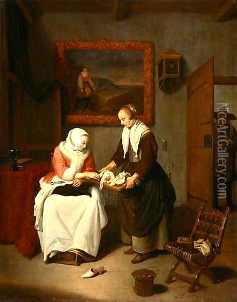 Interior with a Lady Choosing Fish, 1664 Oil Painting - Quiringh Gerritsz. van Brekelenkam