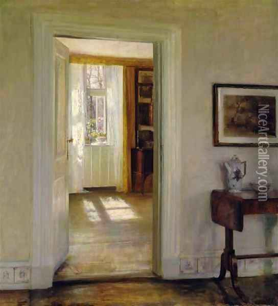 Interior with Garden Oil Painting - Carl Vilhelm Holsoe