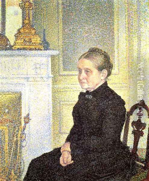 Portrait of Madame Charles Maus Oil Painting - Theo van Rysselberghe