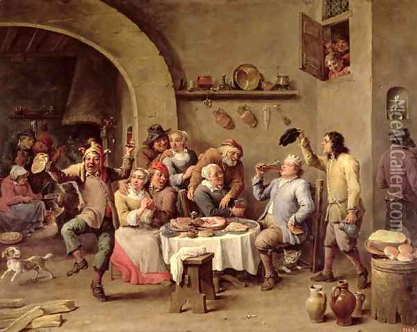 Carnival- Le Roi Boit, 1690 Oil Painting - David The Younger Teniers