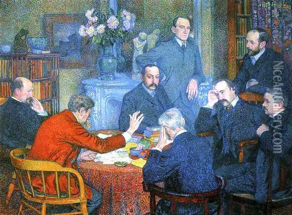 A Reading by Emile Verhaeren Oil Painting - Theo van Rysselberghe