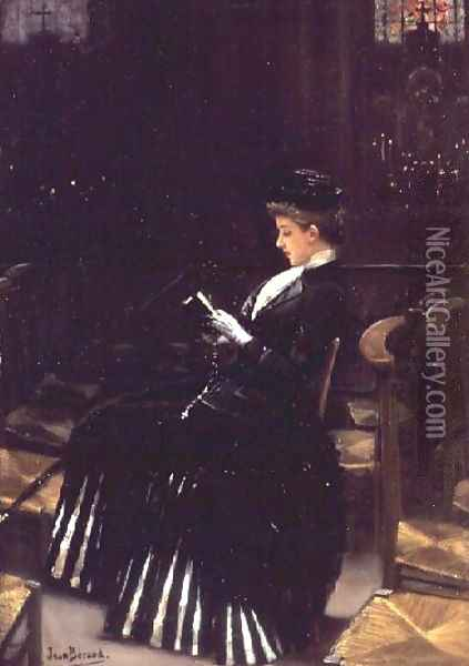 A Woman at Prayer, c.1889 Oil Painting - Jean-Georges Beraud