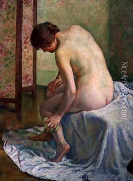 The Bather Oil Painting - Theo van Rysselberghe