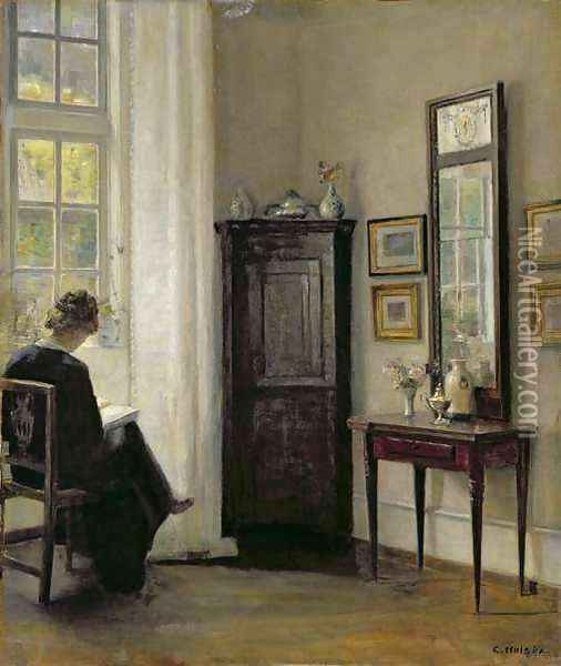 Interior with Woman Reading Oil Painting - Carl Vilhelm Holsoe